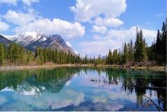 Escena de la montaña con reflexiones del lago Imagen de archivo