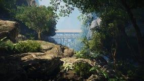 escena de la montaña 3d para el fondo Imagen de archivo