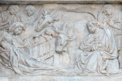 Escena de la natividad, adoración de los pastores Fotografía de archivo libre de regalías
