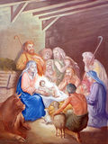 Escena de la natividad, adoración de los pastores Fotos de archivo