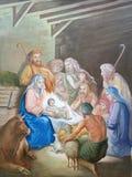 Escena de la natividad, adoración de los pastores Foto de archivo libre de regalías