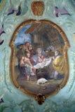 Escena de la natividad, adoración de los sheperds Imágenes de archivo libres de regalías