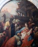 Escena de la natividad, adoración de unos de los reyes magos Imagen de archivo