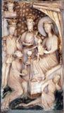 Escena de la natividad, adoración de unos de los reyes magos Imagenes de archivo