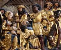 Escena de la natividad, adoración de unos de los reyes magos Fotografía de archivo libre de regalías