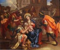 Escena de la natividad, adoración de unos de los reyes magos Foto de archivo