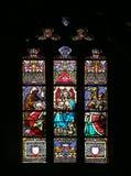 Escena de la natividad, adoración de unos de los reyes magos Imagen de archivo libre de regalías