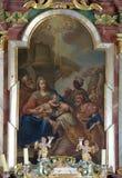 Escena de la natividad, adoración de unos de los reyes magos Fotos de archivo