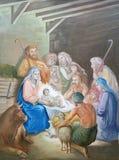 Escena de la natividad, adoración de los pastores Fotos de archivo libres de regalías