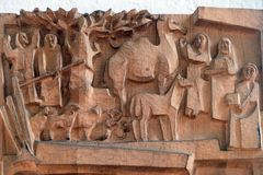 Escena de la natividad, adoración de pastores Fotos de archivo libres de regalías