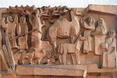 Escena de la natividad, adoración de pastores Imagen de archivo