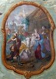 Escena de la natividad, adoración de unos de los reyes magos Fotos de archivo libres de regalías