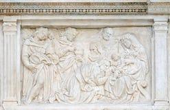 Escena de la natividad, adoración de unos de los reyes magos Foto de archivo libre de regalías