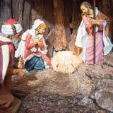 Escena de la natividad antes de la Navidad Imagen de archivo