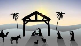 Escena de la natividad con el sol naciente libre illustration