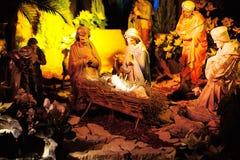 Escena de la natividad con las estatuas fotografía de archivo libre de regalías