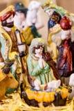 Escena de la natividad con las figuras mano-coloreadas Imagen de archivo libre de regalías