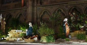 Escena de la natividad de la Navidad almacen de metraje de vídeo