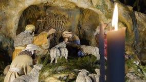 Escena de la natividad de la Navidad, bebé Jesús almacen de metraje de vídeo