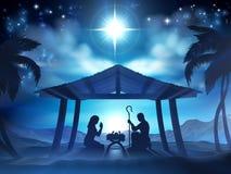 Escena de la natividad de la Navidad del pesebre Imágenes de archivo libres de regalías