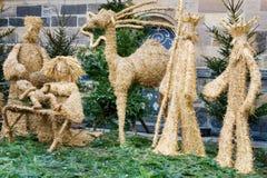 Escena de la natividad de la Navidad en castillo de Praga, Praga, Checo Republ Imágenes de archivo libres de regalías