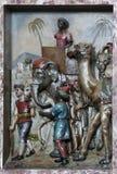 Escena de la natividad, el venir de los reyes Foto de archivo libre de regalías