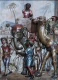 Escena de la natividad, el venir de los reyes Fotos de archivo libres de regalías
