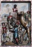 Escena de la natividad, el venir de los reyes Imágenes de archivo libres de regalías