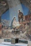Escena de la natividad en la iglesia del campo de los pastores, Bethleh Fotografía de archivo libre de regalías