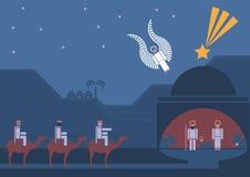 Escena de la natividad y los tres hombres sabios Imágenes de archivo libres de regalías
