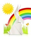 Escena de la naturaleza con el conejo hecho del papel Imagen de archivo