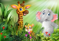 Escena de la naturaleza con la historieta de los animales salvajes stock de ilustración