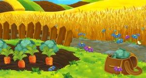 Escena de la naturaleza de la historieta - campos de granja - etapa vacía para diverso uso Fotografía de archivo