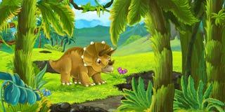 Escena de la naturaleza de la historieta con el volcán activo y el triceratops derecho libre illustration