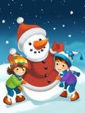 Escena de la Navidad con el muñeco de nieve Fotografía de archivo