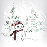 Escena de la Navidad con el muñeco de nieve y el árbol de navidad. Illustrat del vector Imagen de archivo libre de regalías