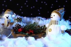 Escena de la Navidad con las decoraciones de los juguetes Años Nuevos de concepto del día de fiesta Fotografía de archivo