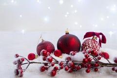 Escena de la Navidad con nieve Fotografía de archivo