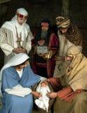 Escena de la Navidad de Wisemen Foto de archivo
