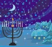 Escena de la Navidad del invierno - tarjeta del extracto del menorah de Jánuca Foto de archivo