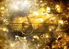 Escena de la Navidad del oro fotos de archivo libres de regalías