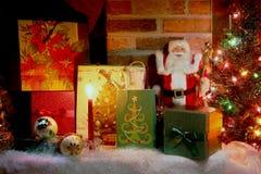 Escena de la Navidad Tarjeta de felicitación Fotografía de archivo