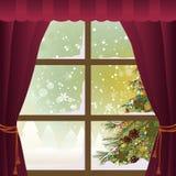 Escena de la Navidad a través de una ventana ilustración del vector