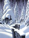 Escena de la nieve con la cerca Foto de archivo libre de regalías