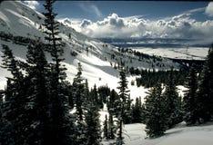 Escena de la nieve de la montaña Fotografía de archivo