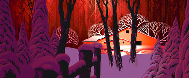 Escena de la nieve del invierno con el granero Imágenes de archivo libres de regalías