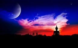 Escena de la noche con la luna Fotografía de archivo libre de regalías