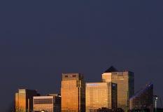 Escena de la noche de Canary Wharf Fotos de archivo