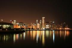 Escena de la noche de Chicago imagen de archivo