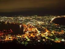 Escena de la noche de Hakodate Imágenes de archivo libres de regalías